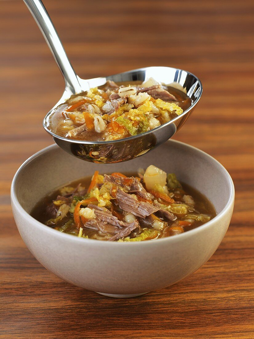 Beef broth with meat and vegetables