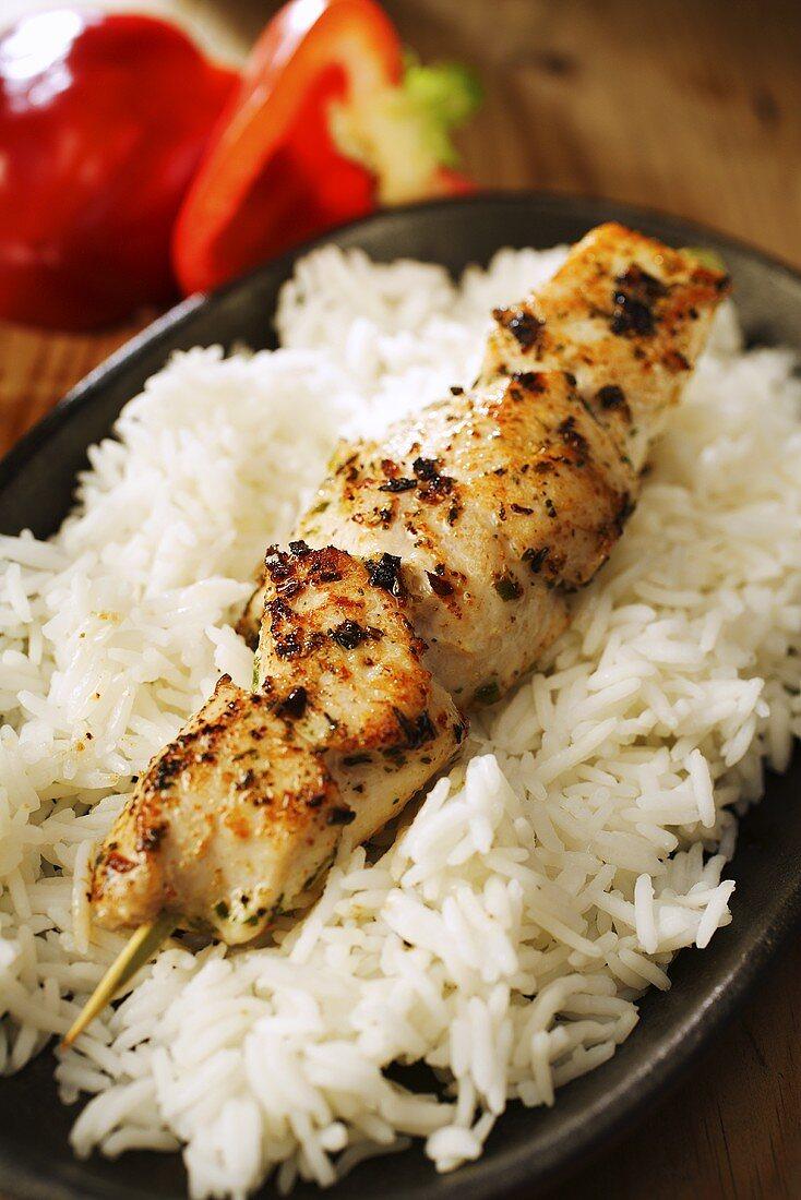 Chicken kebab on rice