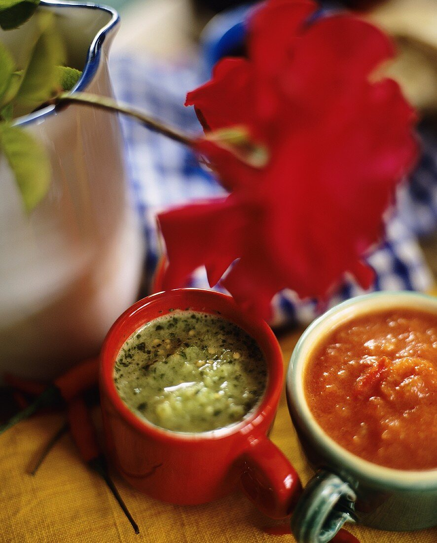 Herb sauce and tomato sauce