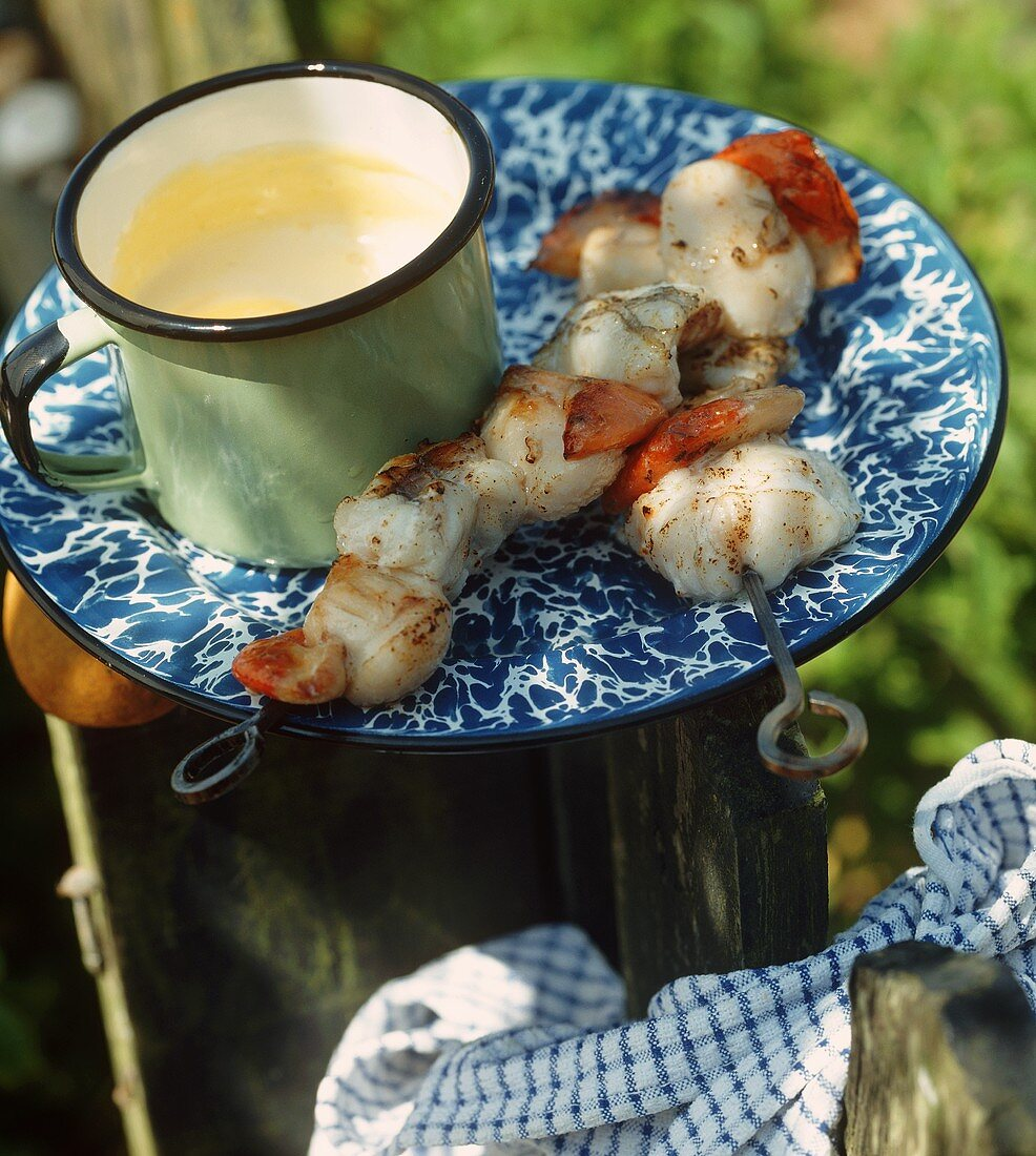 Grilled seafood kebabs with saffron mayonnaise