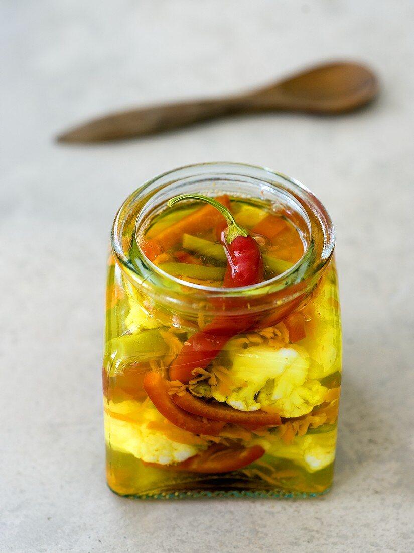 Pickled vegetables in a jar