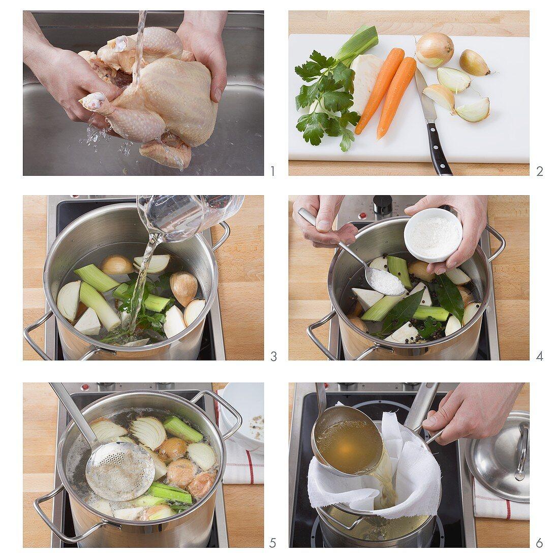 Making chicken stock