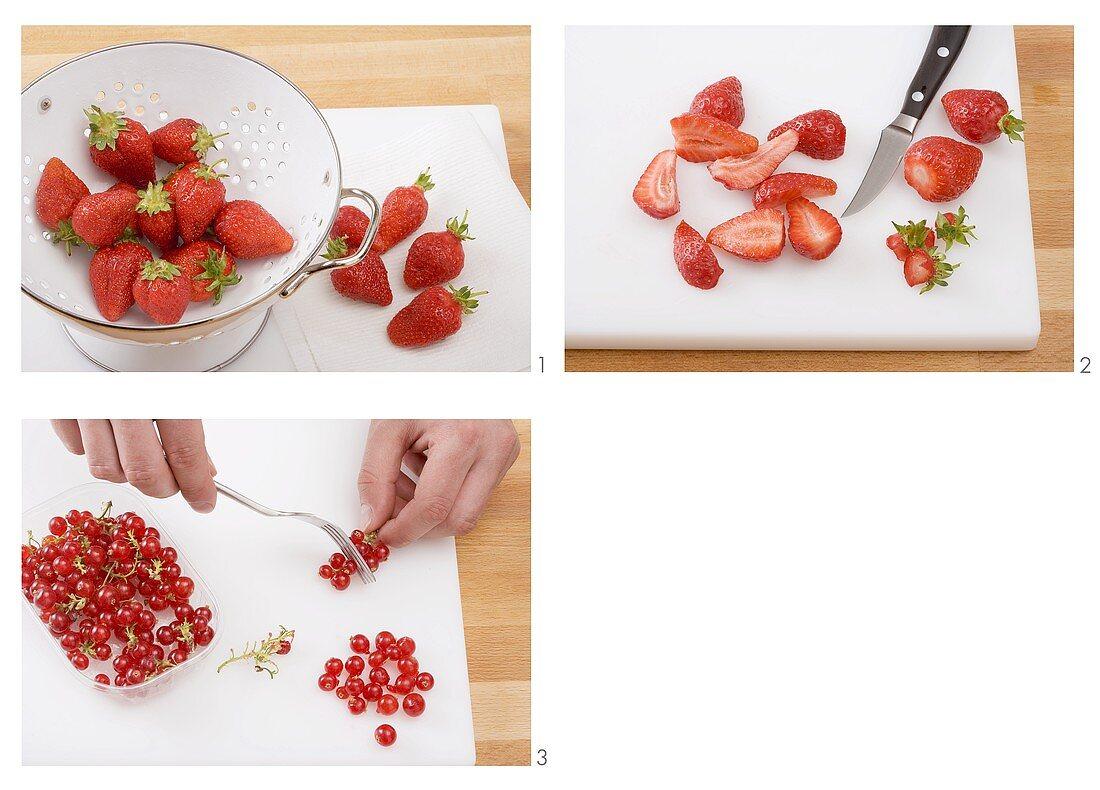 Washing and preparing berries