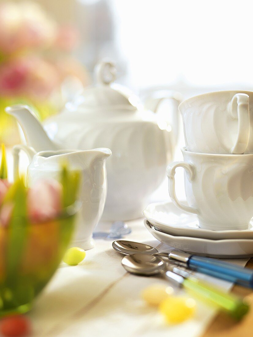 White tea things on an Easter table