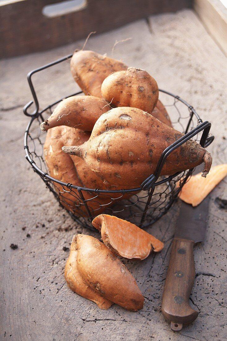 Sweet potatoes in a wire basket