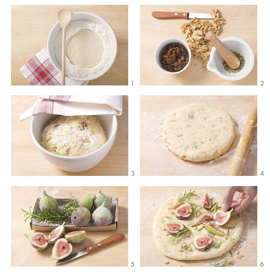 Making schiacciata ai fichi (flatbread with figs)