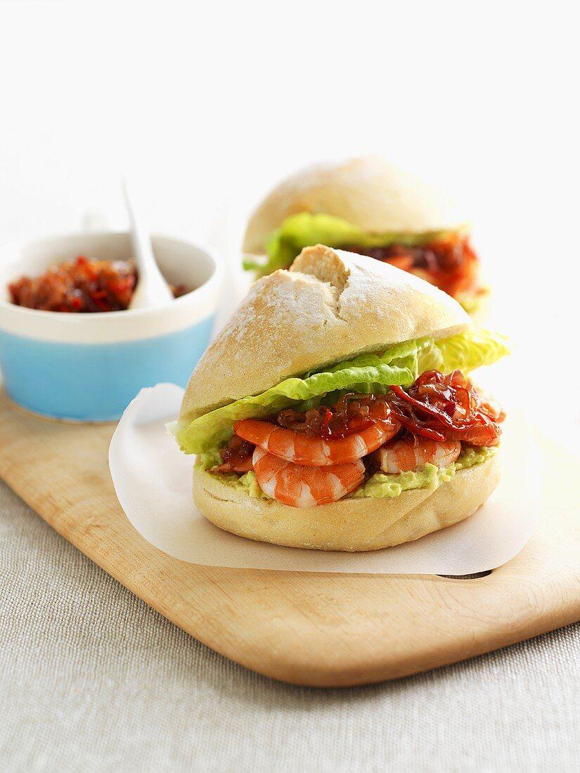 Prawn sandwich with chilli paste
