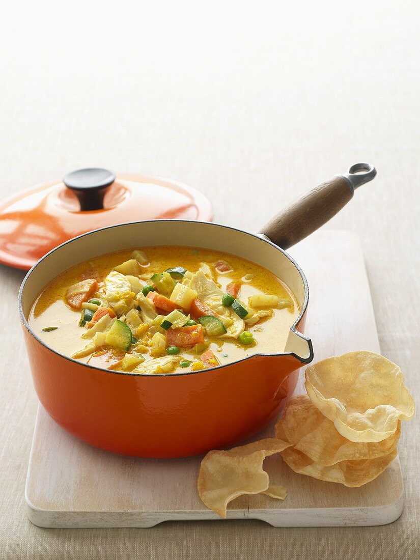 Curried chicken and vegetable soup