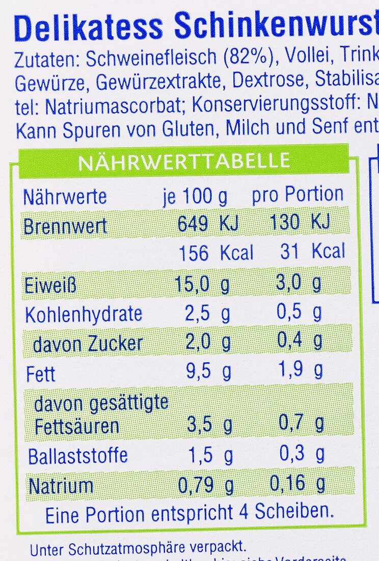 Nutritional information on sausage packaging