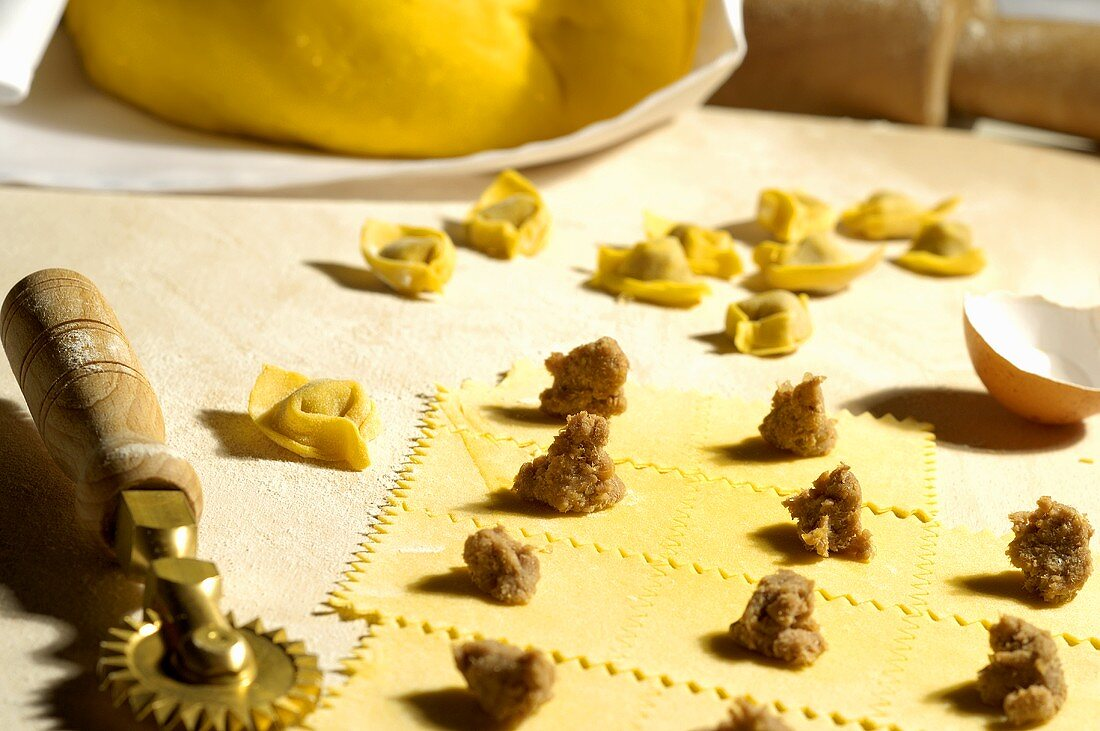 Making cappelletti (still life)