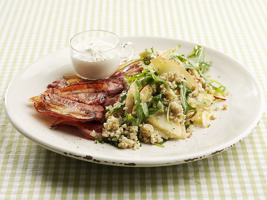 Grain salad with bacon and sour cream