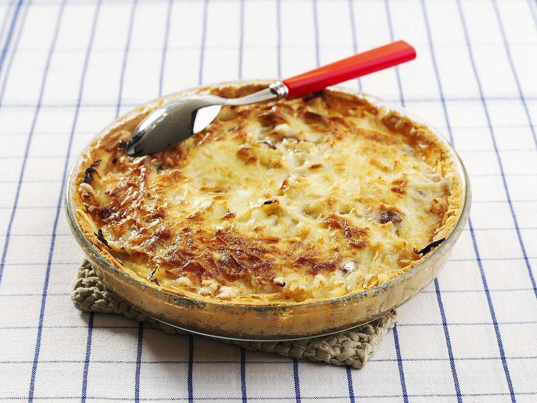 Onion and anchovy pie