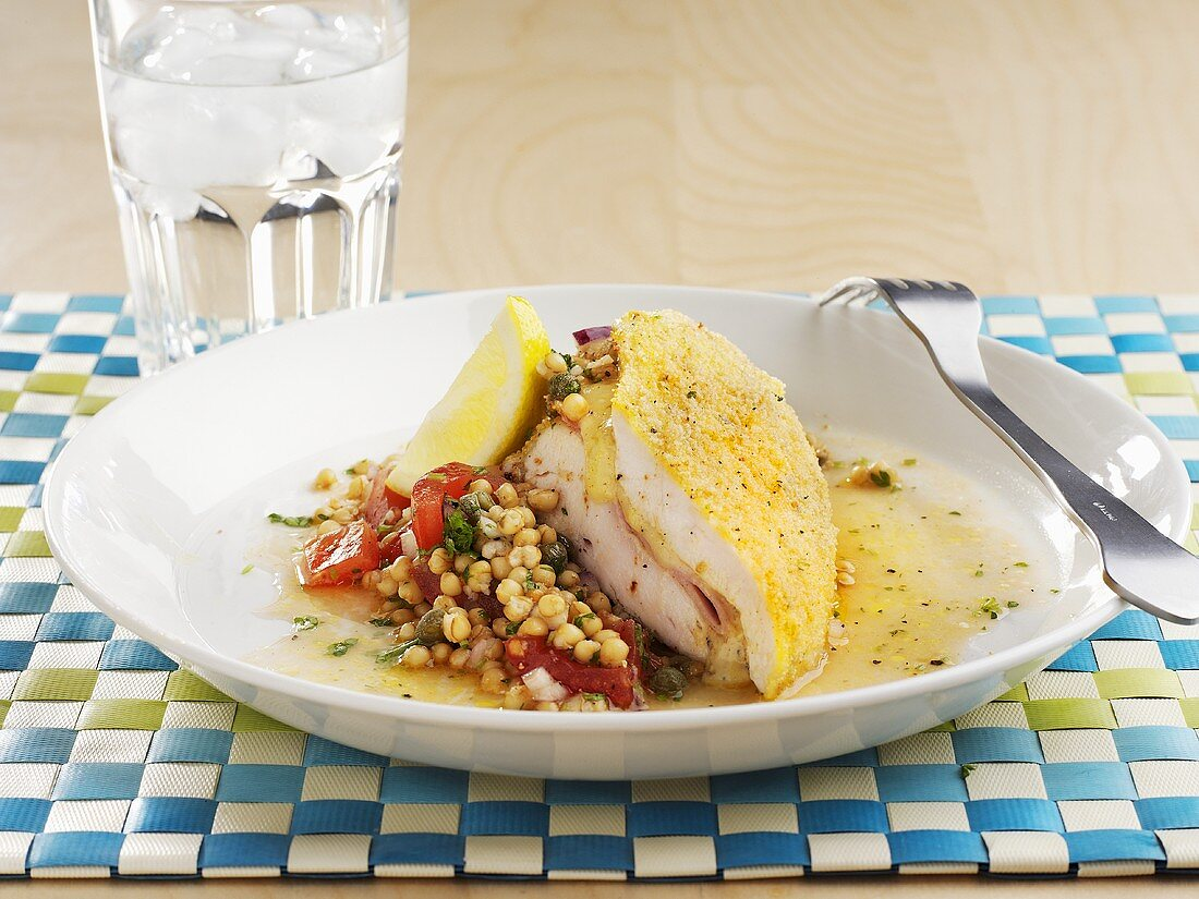 Turkey Cordon Bleu with grain salad