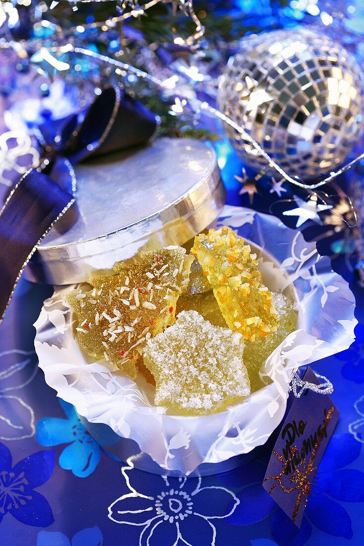 Star-shaped and fir tree-shaped apple jelly