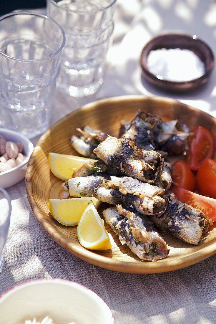 Stuffed sardine rolls