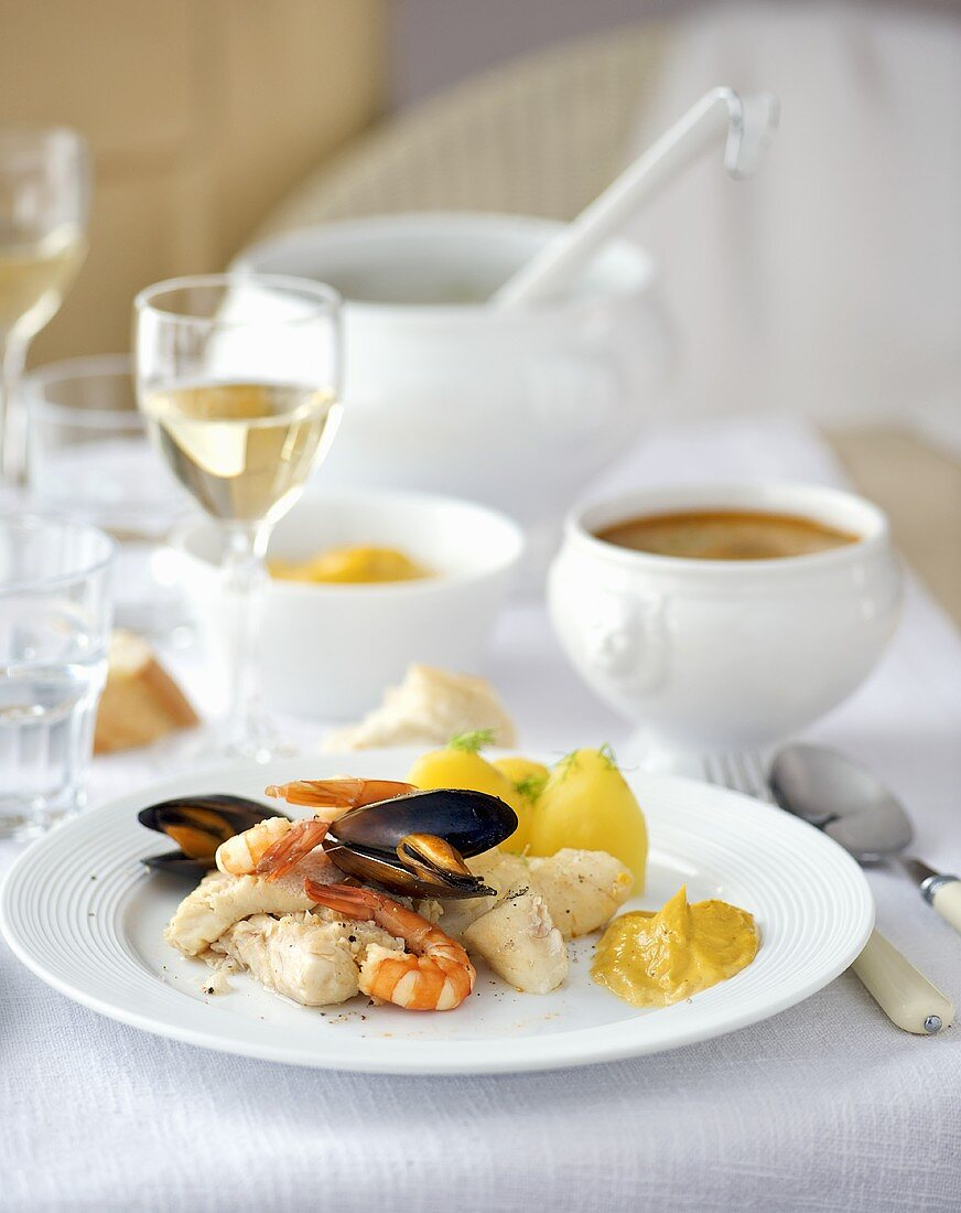 Bouillabaisse (fish & shellfish soup, France) with rouille