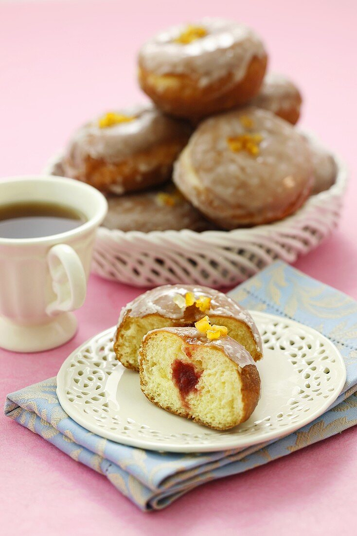 Iced jam doughnuts to serve with tea