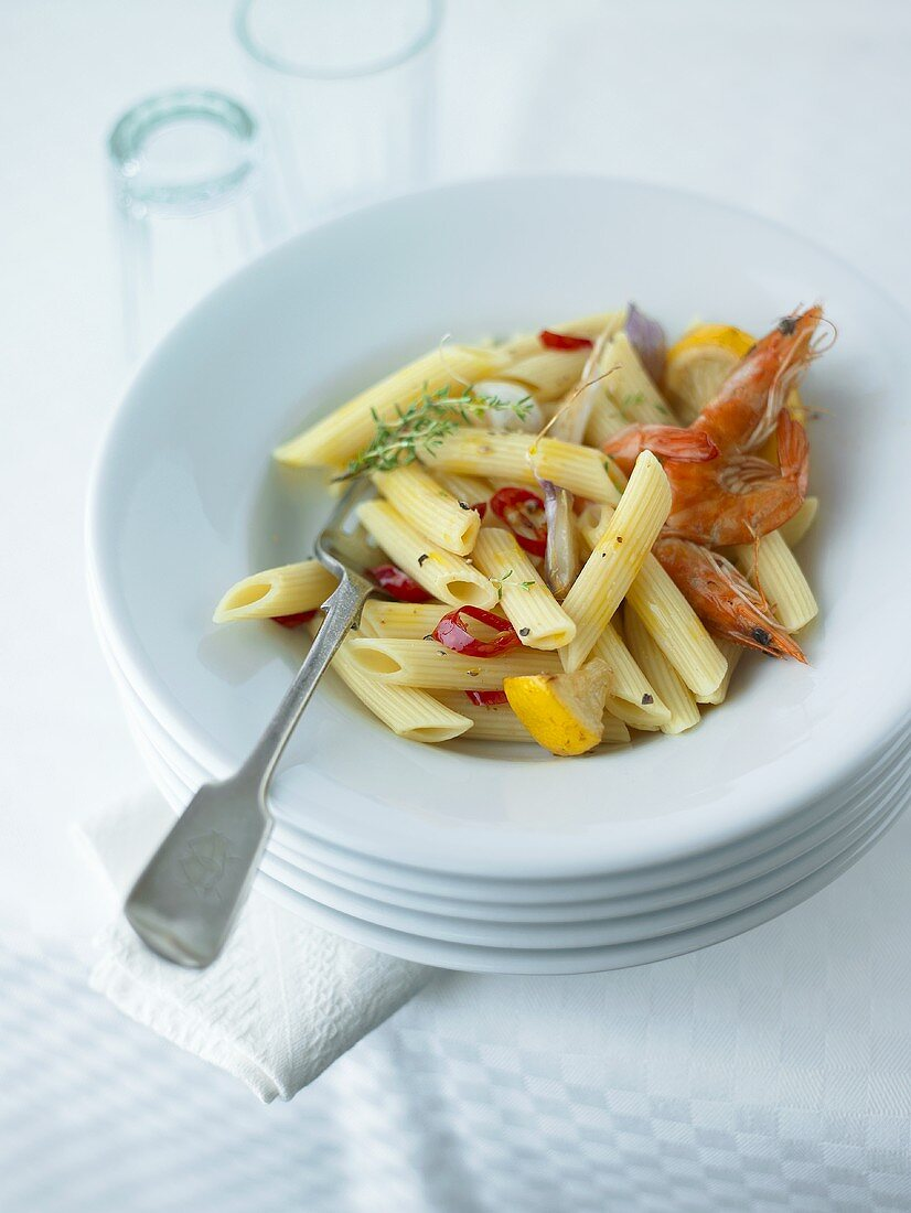 Penne rigate with prawns, garlic, chilli and lemon