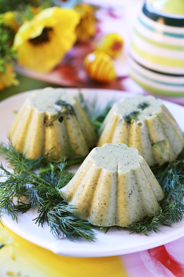 Broccoli moulds with dill for Easter