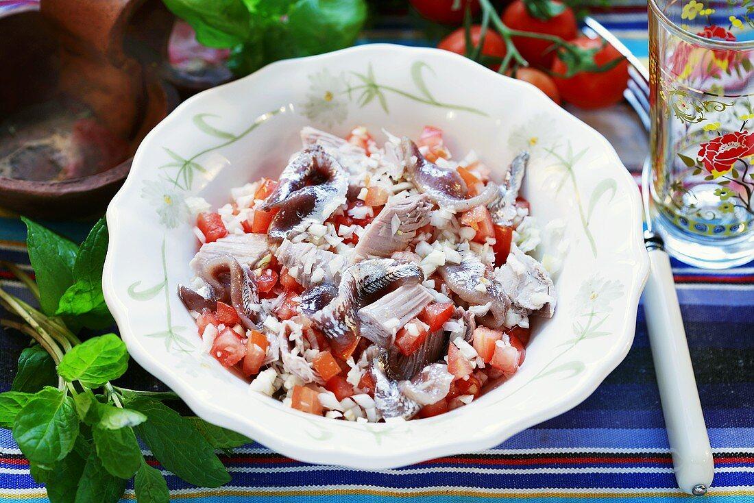 Insalata con le acciughe (Tomatensalat mit Sardellen)