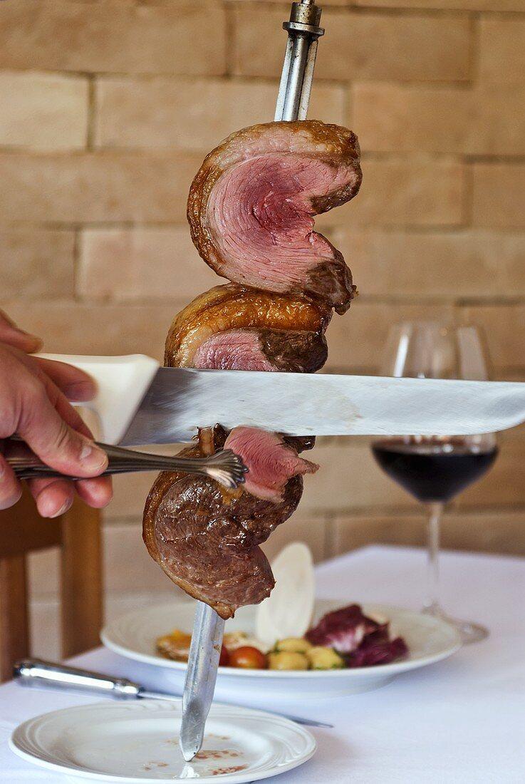 Pincanha (beef) on skewer, churrasco style (Brazil)