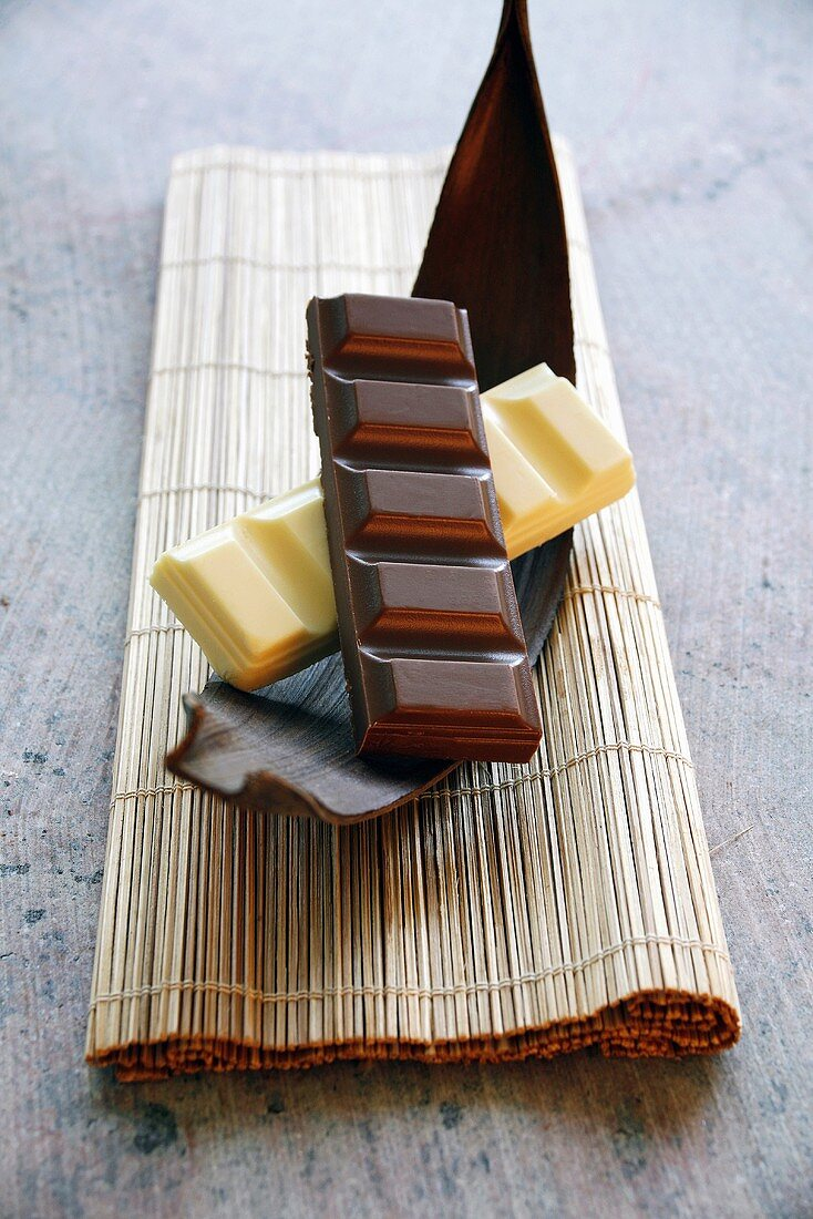 Pieces of white and dark chocolate on piece of cocoa pod