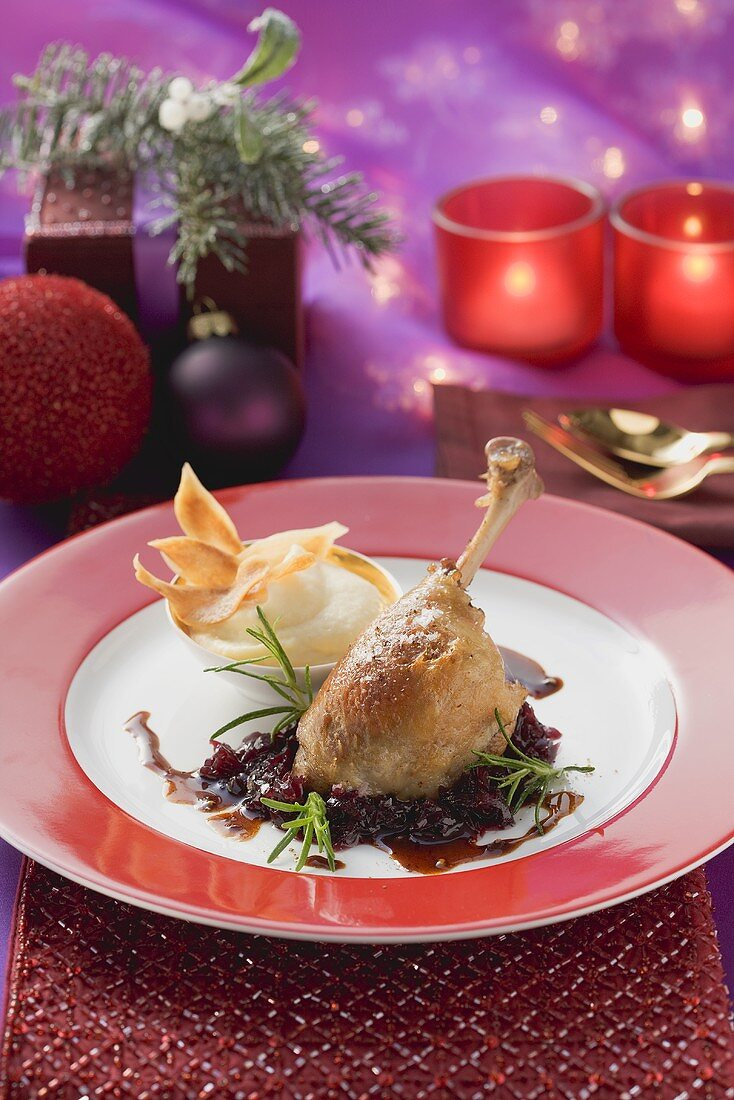 Confit of duck and red onion with scorzonera puree