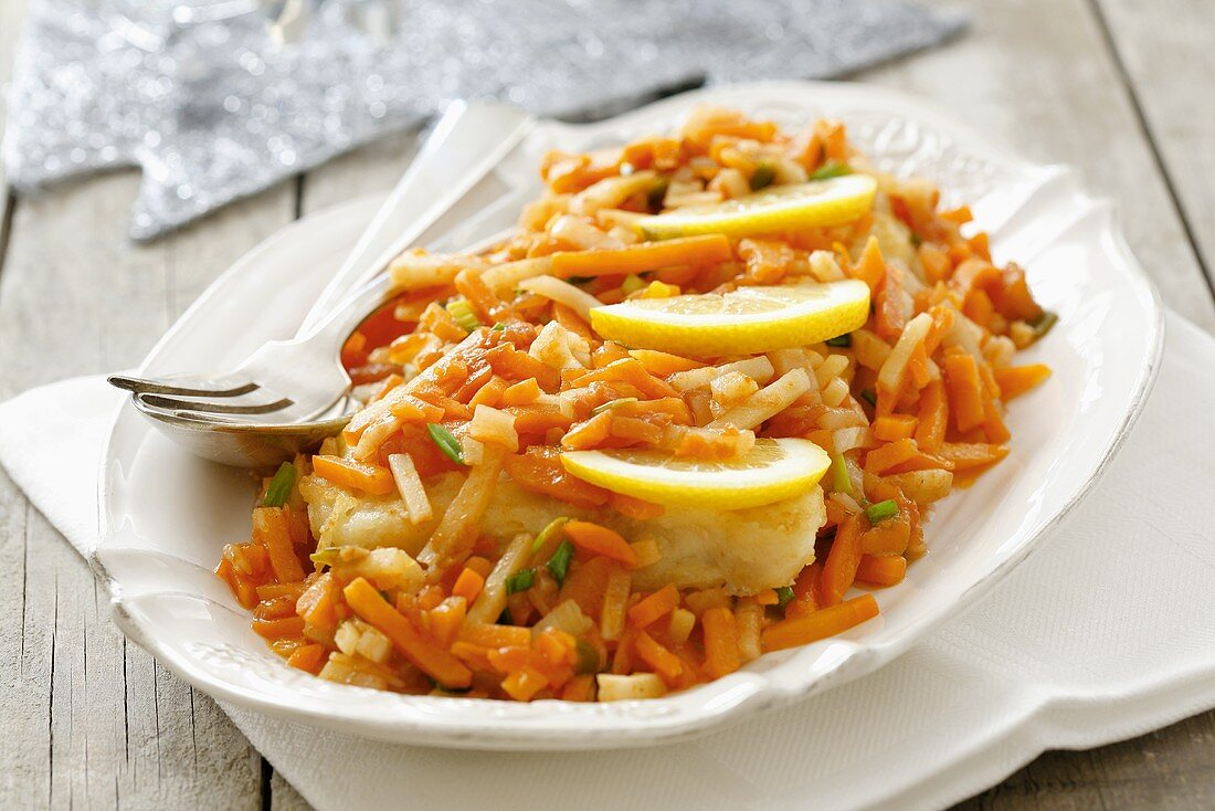 Pan-cooked vegetables with fish for Christmas