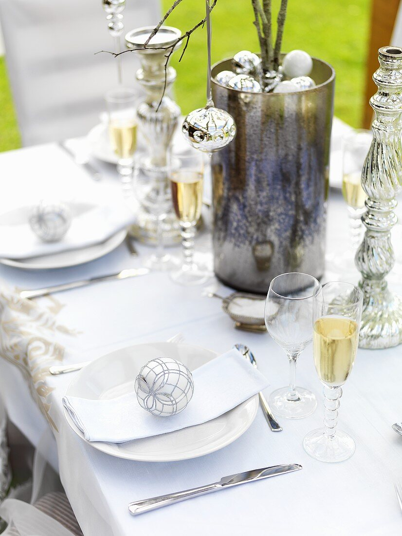 Christmas table with sparkling wine