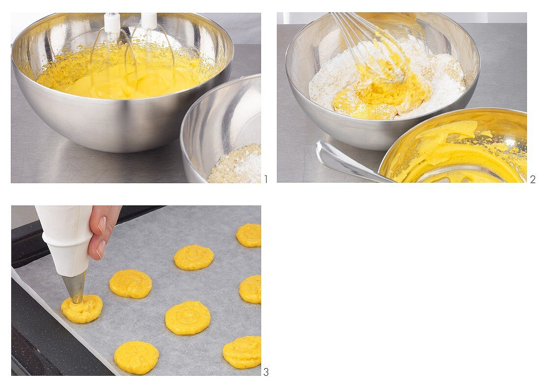 Making saffron macarons (small French cakes)