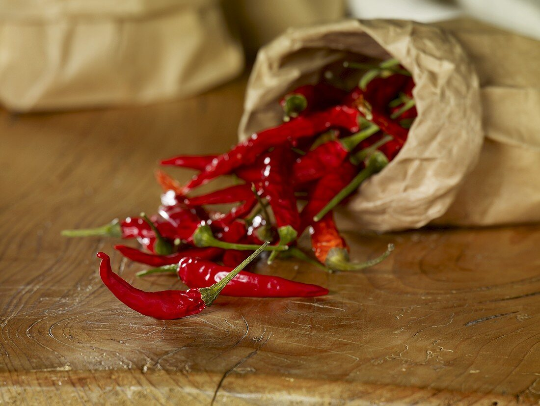 Dried chillies in paper bag