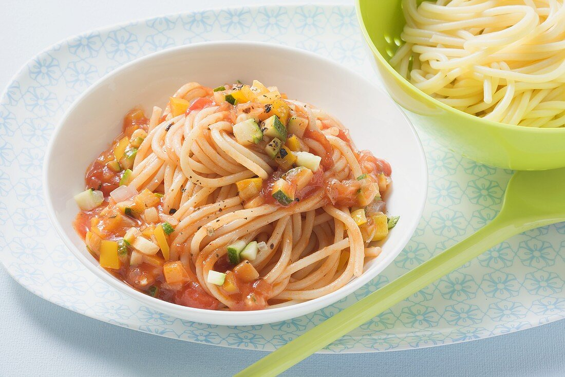 Spaghetti with mixed vegetable sauce