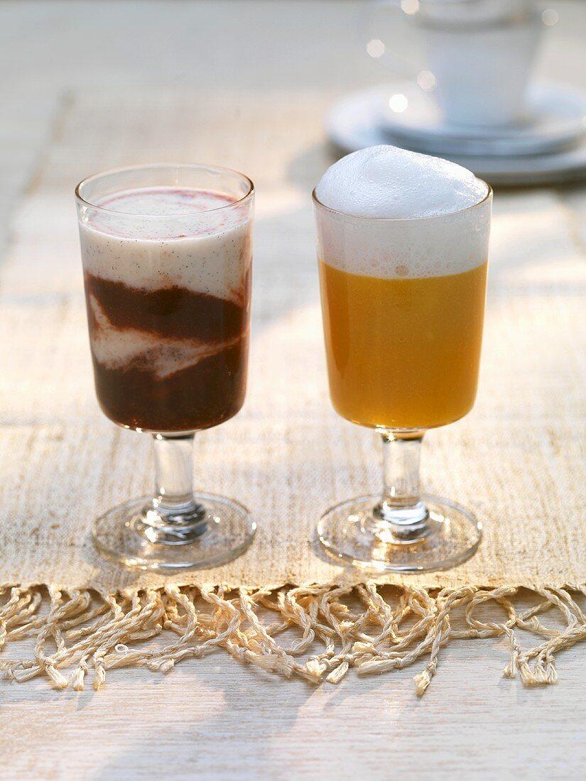 Banana & cherry smoothie, mango & orange smoothie with coconut milk