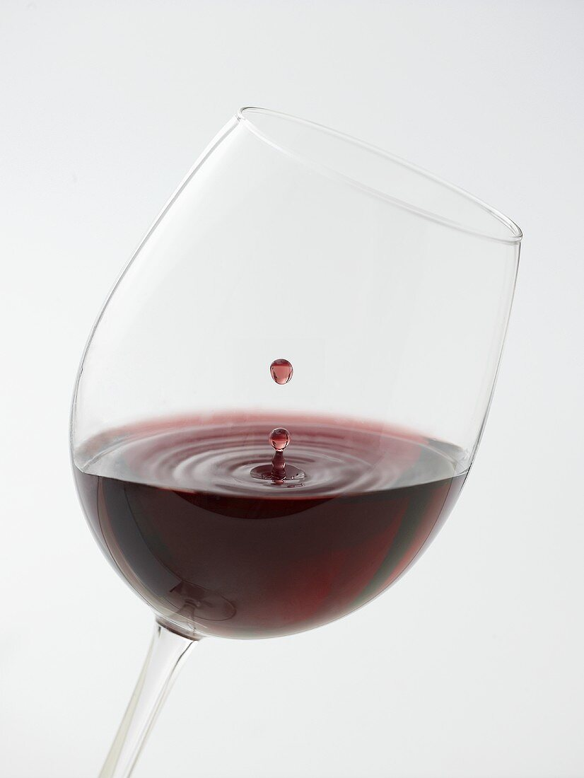 Glass of red wine with drop of wine