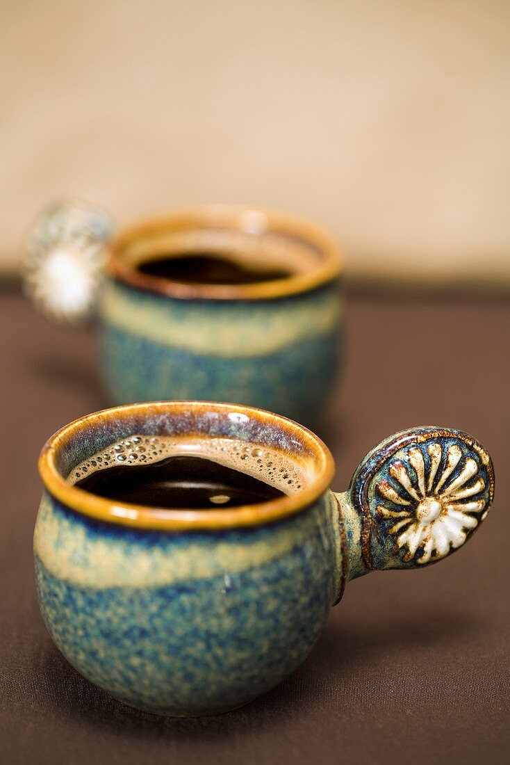 Two cups of espresso