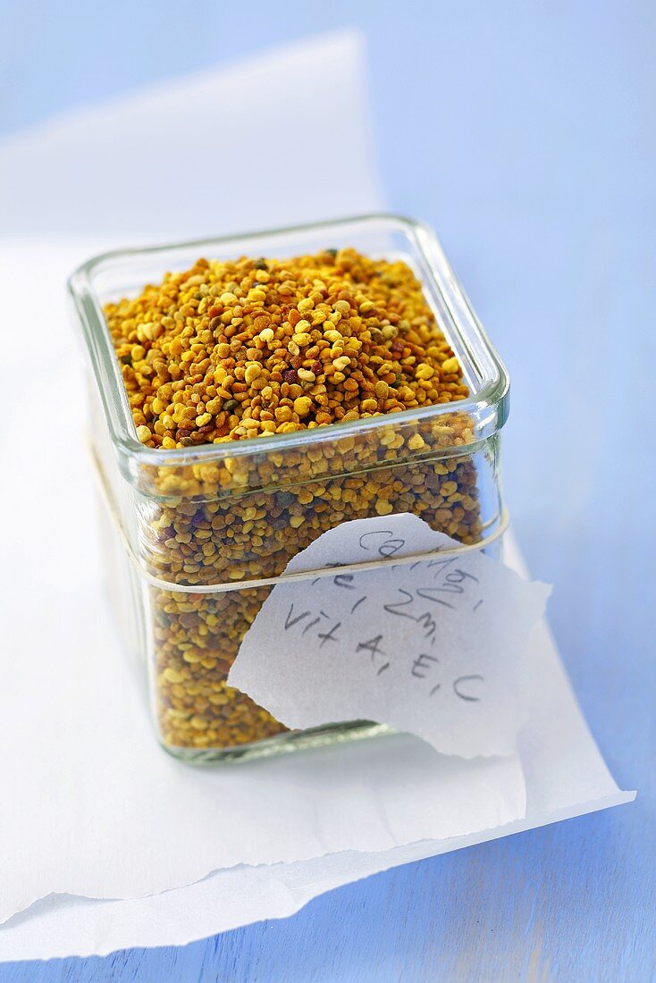 Pollen, slip of paper listing healthy ingredients