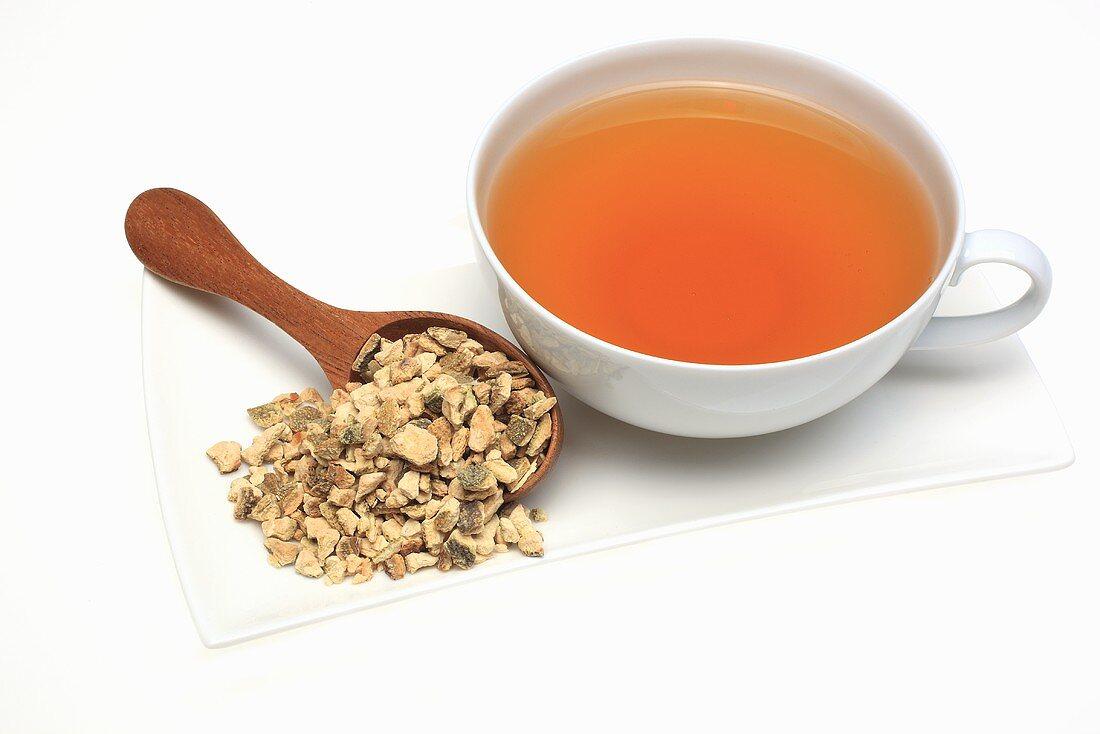 Tea made from dried bitter orange peel (Citrus aurantium currassuviensis)