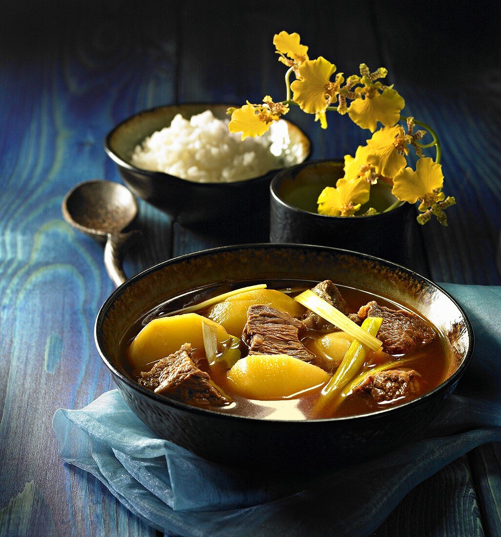 Pork, potato and leek stew with rice, Korea