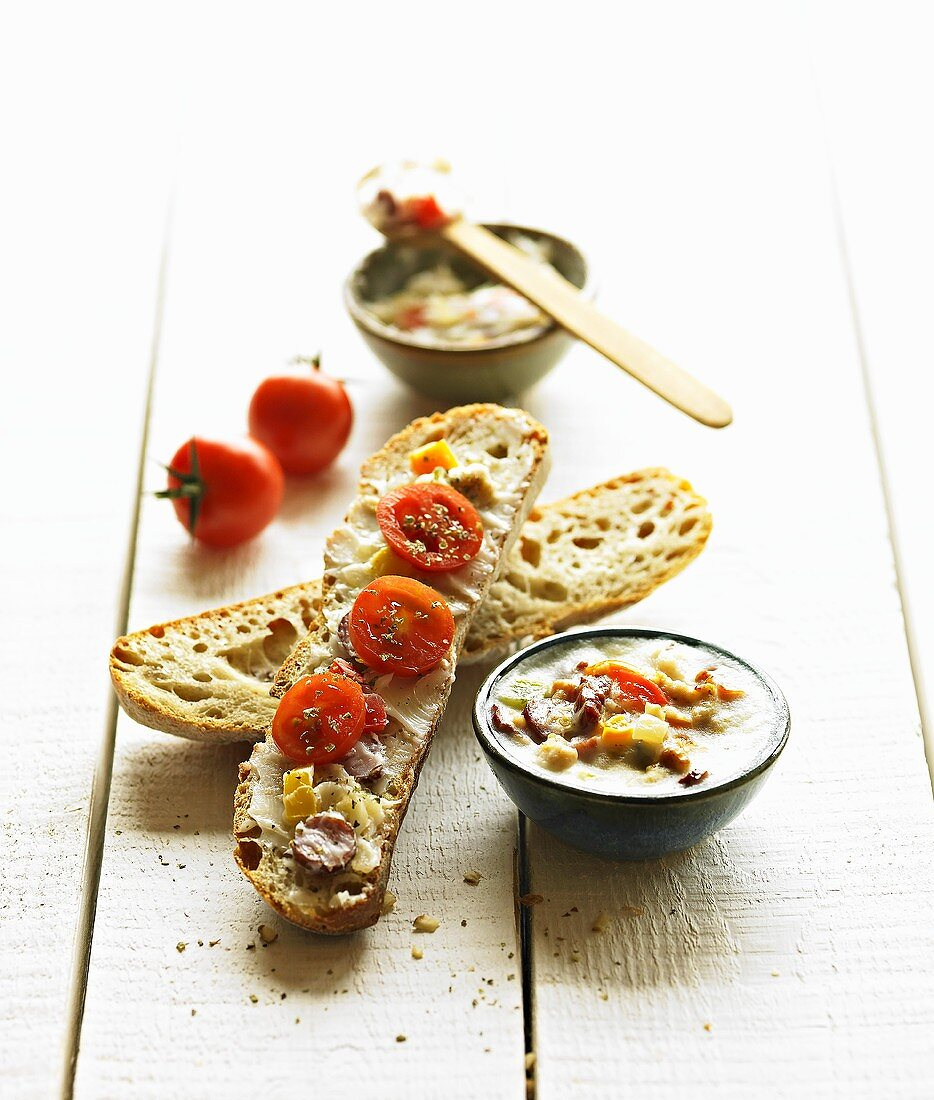 Bread and dripping with tomatoes