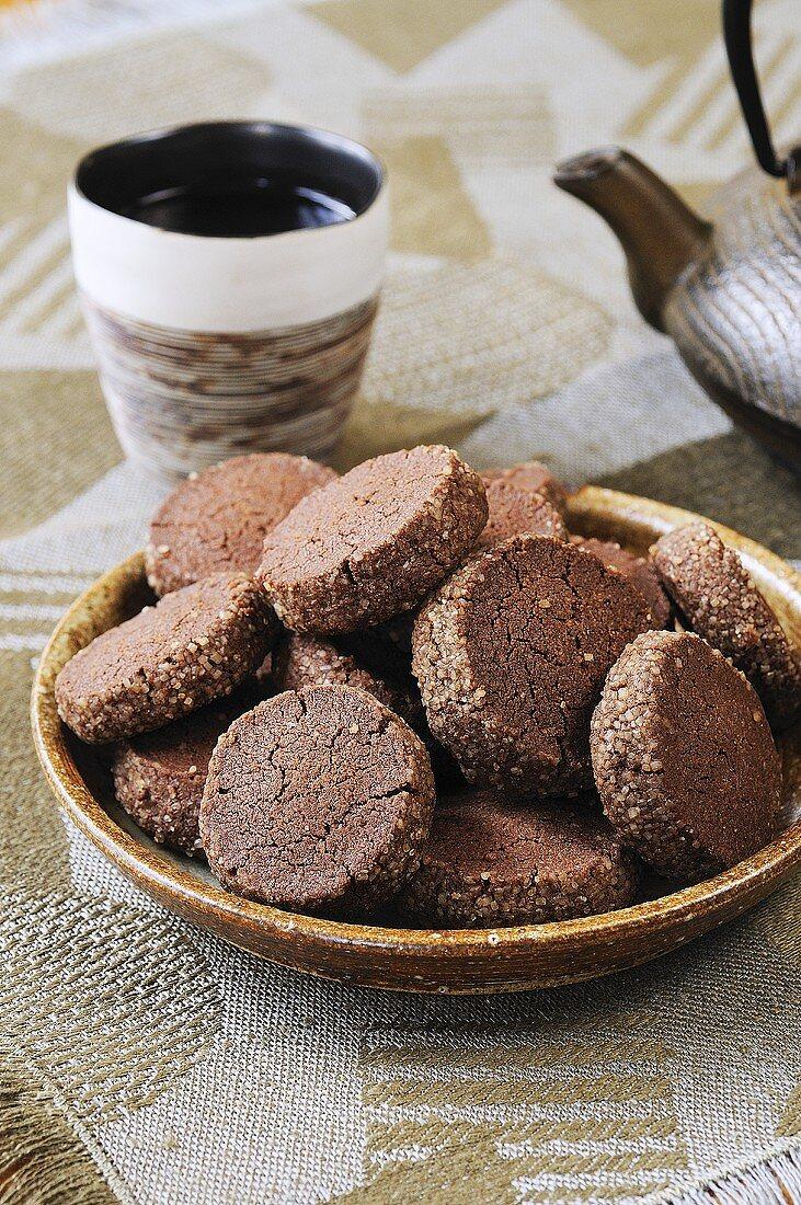 Chocolate cookies to serve with tea