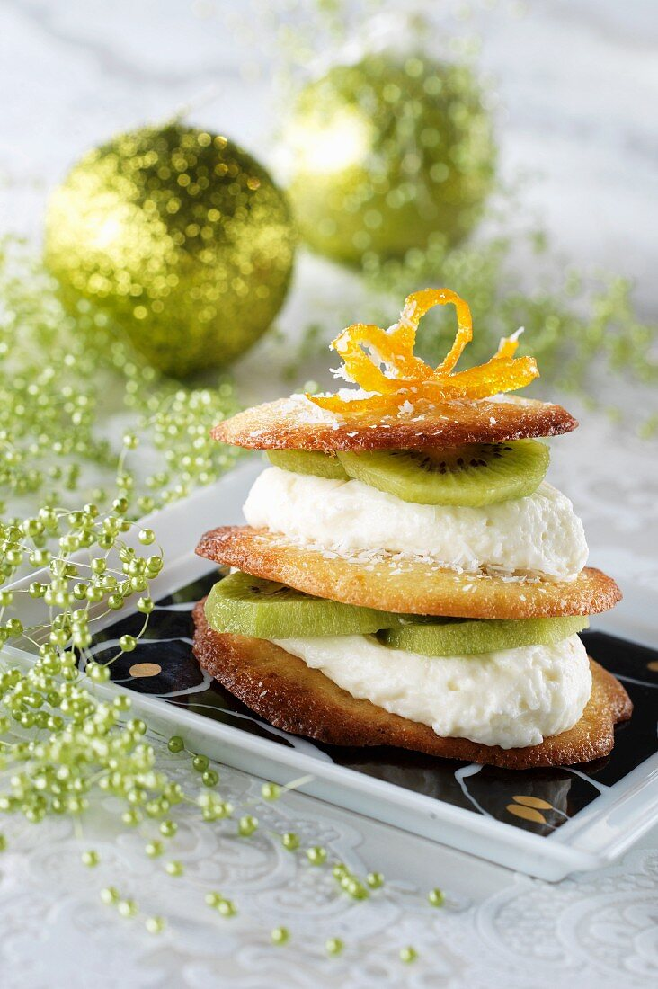 Millefeuille of orange biscuits, kiwi fruit & coconut mousse