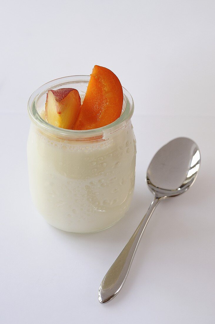 Natural yoghurt with peach and apricot