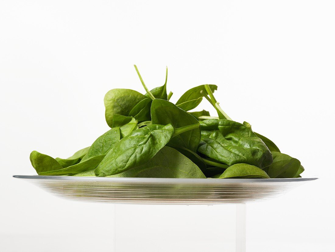 A plate of spinach leaves