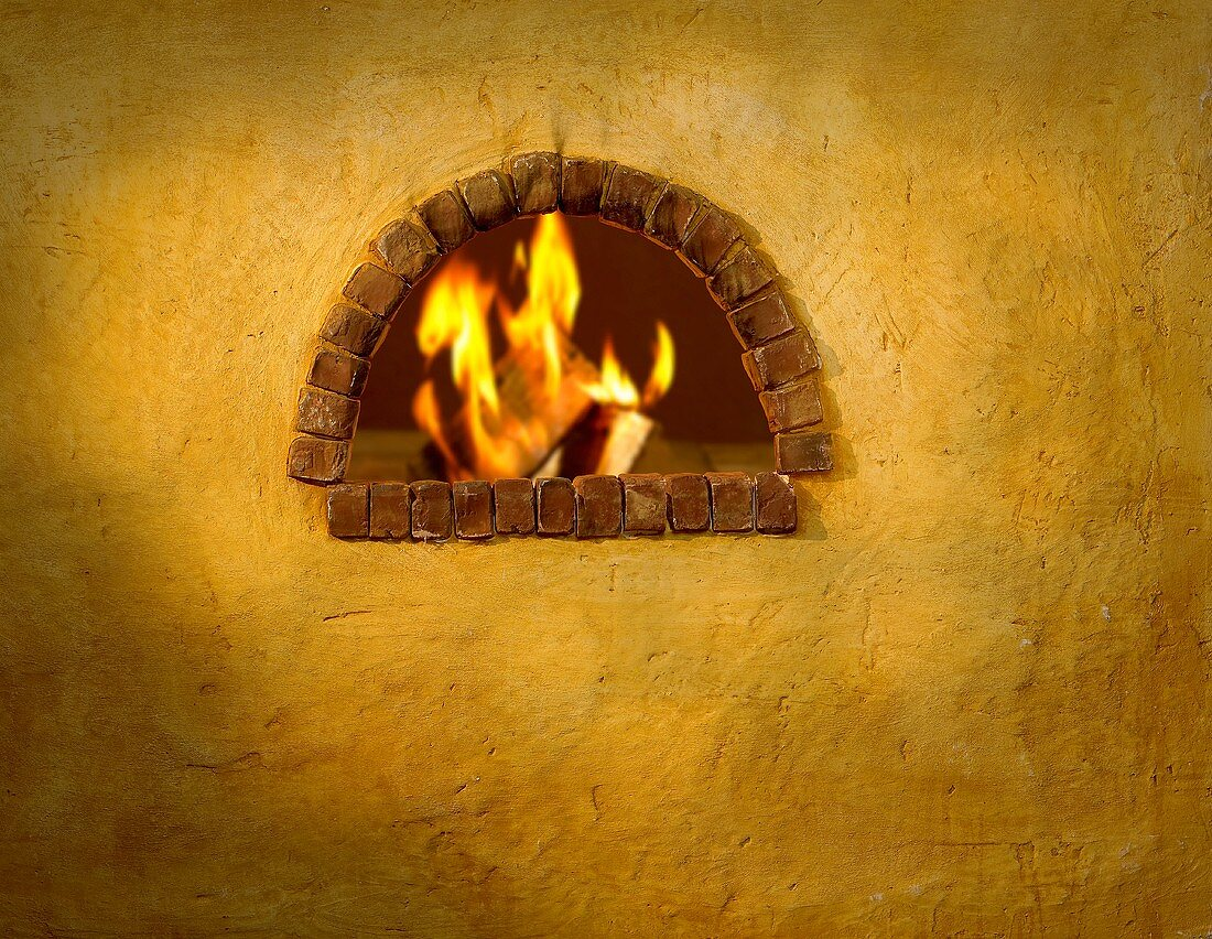 An open wood-fired oven