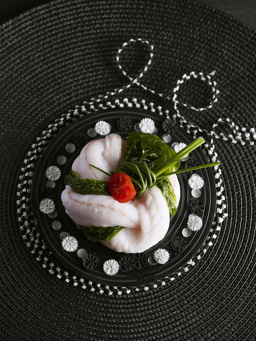 Poached monkfish