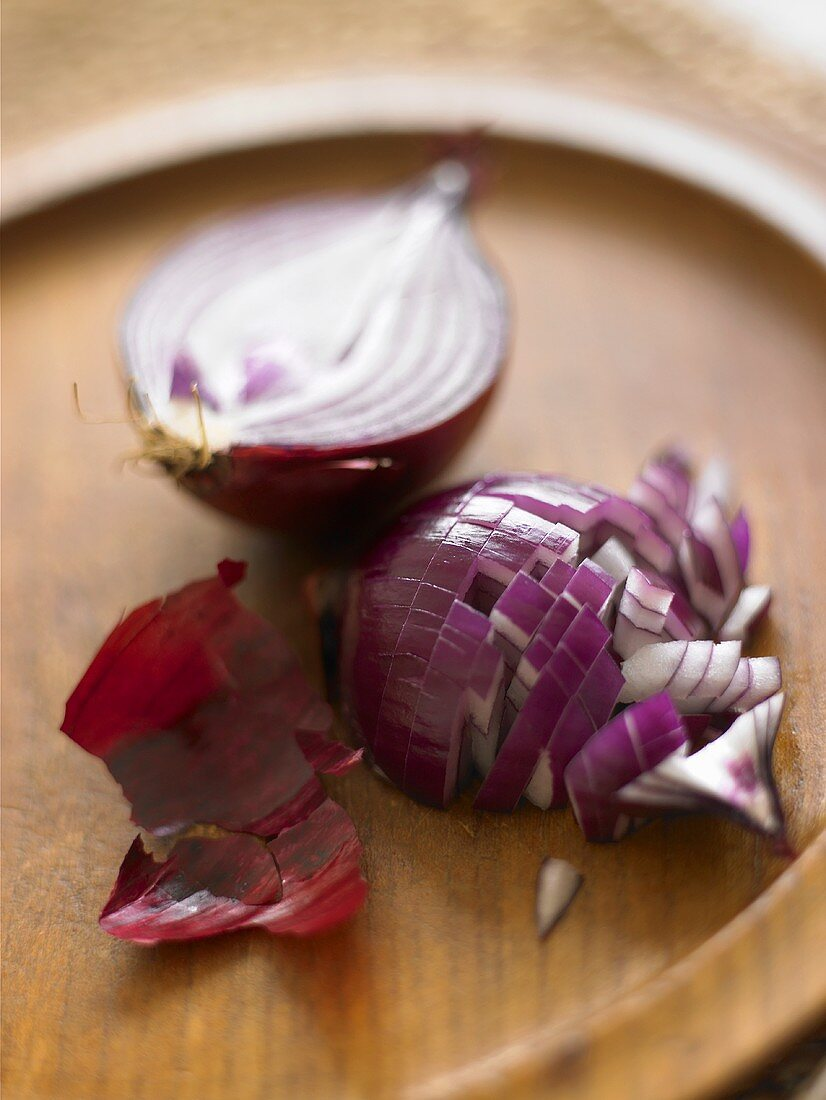 Red onion, halved (one half chopped)
