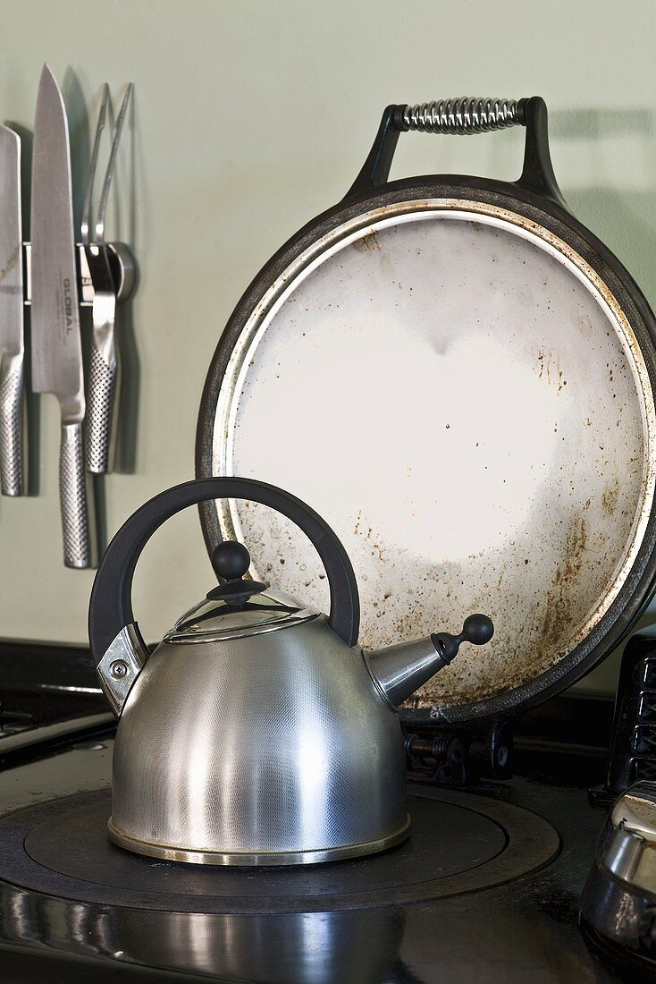 Kettle on a wood-burning stove