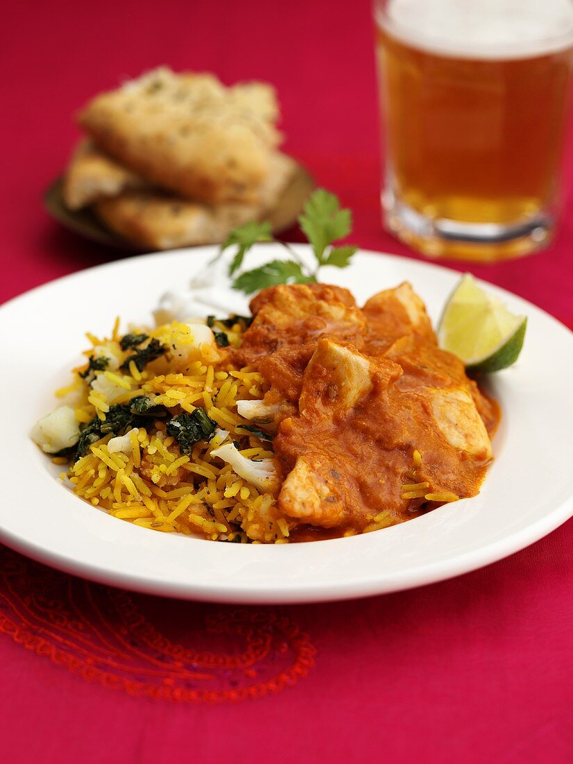 Chicken tikka masala (Indian chicken dish) with rice