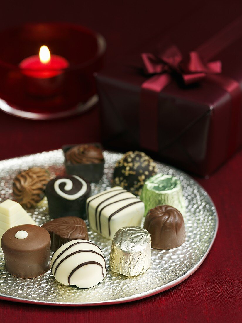 Belgium chocolates on a silver plate (Christmas)