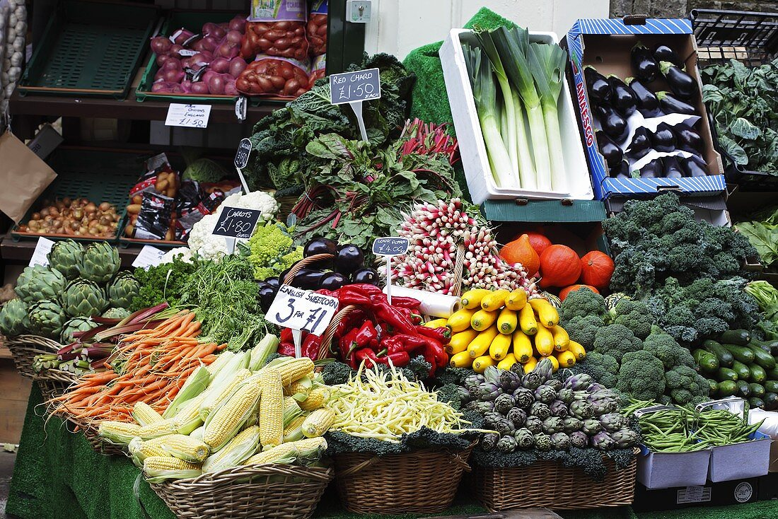 Vegetable stall at a market